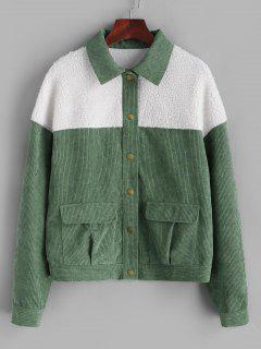 ZAFUL Faux Fur Insert Corduroy Jacket - Army Green S