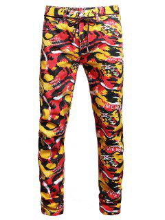Long Colorful Camouflage Letter Print Jeans - Multi-a 36