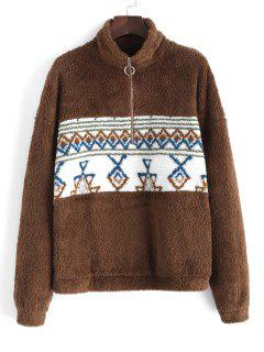 ZAFUL Sweat-shirt Fourré Tribal Imprimé à Demi-Zip - Café Profond Xl
