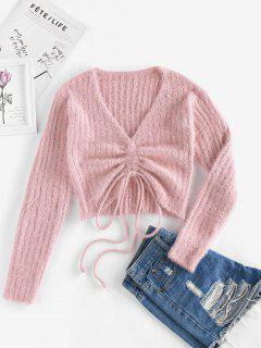 ZAFUL Cinched Plunging Furry Crop Sweater - Pink L