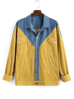 Veste Bicolore Jointif Avec Poche à Rabat - Jaune 2xl