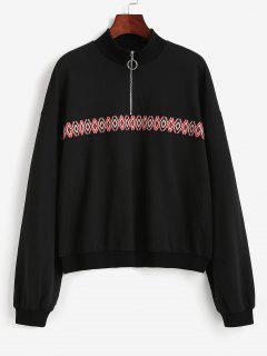 Tribal Patchwork Half Zipper Sweatshirt - Black M