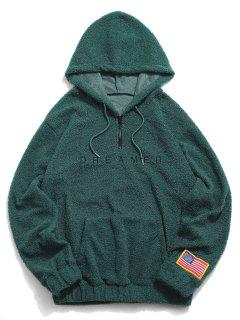 Dreamer Stickerei American Flag-Patch Teddy Hoodie - Dunkelgrün S