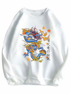 Crewneck Fleece Lined Oriental Dragon Sweatshirt - White 2xl