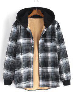 Hooded Button Up Plaid Print Pocket Fleece Jacket - Gray Xl