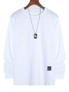 Applique Detail Heathered Long Sleeve T-shirt - White Xl