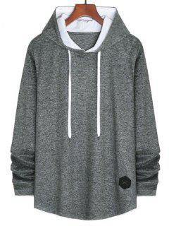 Applique Detail Heathered Faux Twinset Hoodie - Gray Xl