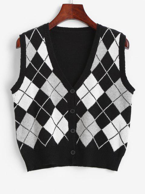 Gilet Pull LosangeBoutonné en Tricot - Noir Taille Unique Mobile