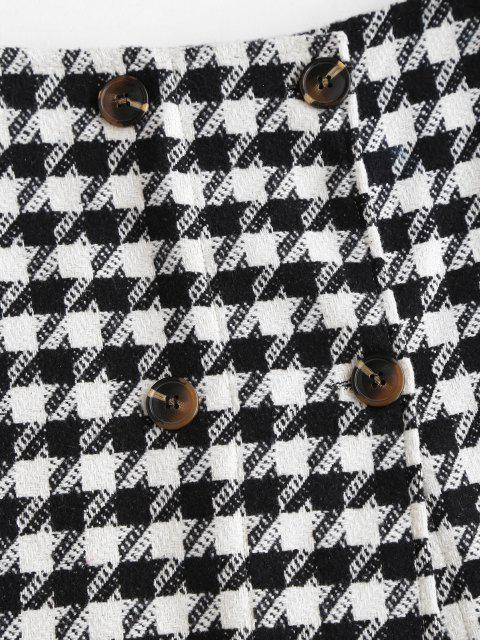 shop Double Breasted Houndstooth Tweed Skirt - BLACK S Mobile