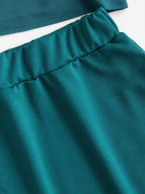 latest Car CALIFORNIA Graphic Sweat Two Piece Dress - DEEP GREEN S Mobile