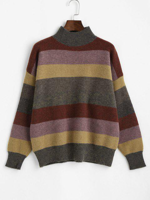 best Mock Neck Striped Colorblock Sweater - MULTI ONE SIZE Mobile