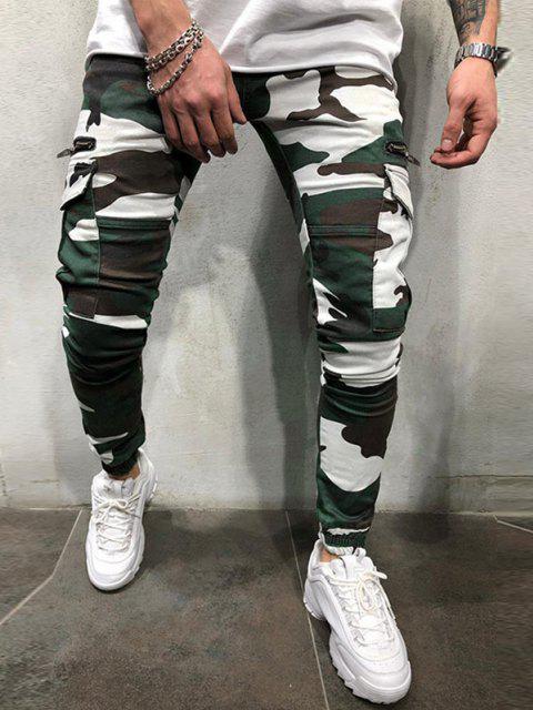 Pantalones de Carga de Estampado de Camuflaje de Cordón - Verde de Trébol  XL Mobile