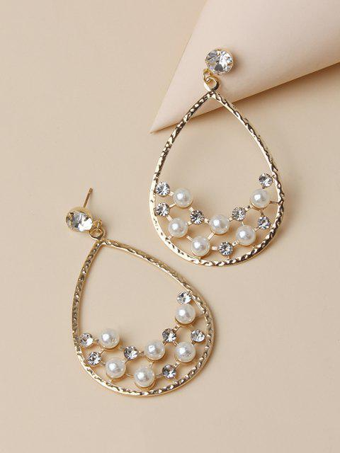 outfits Faux Pearl Rhinestone Water Drop Shape Earrings - GOLDEN  Mobile