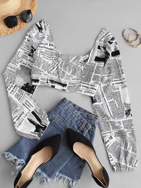 women Cropped Twist Front Newspaper Print Top - WHITE M Mobile