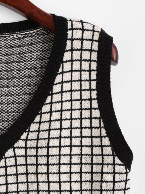 V Ausschnitt Gitter Pullover Weste - Licht Kaffee Eine Größe Mobile