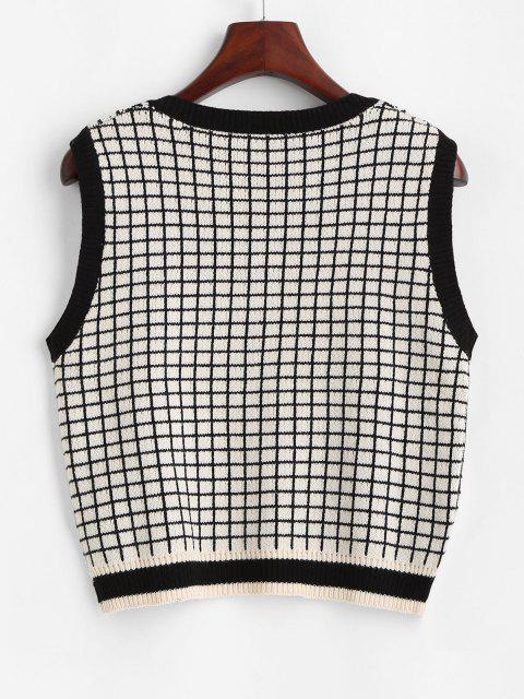 chic V Neck Grid Sweater Vest - LIGHT COFFEE ONE SIZE Mobile