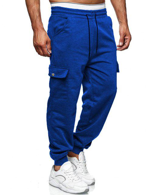 latest Side Pockets Tapered Casual Pants - COBALT BLUE S Mobile