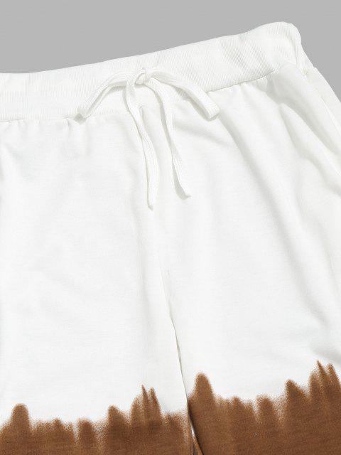 fancy Ombre Print Drawstring Jogger Sweatpants - KHAKI M Mobile