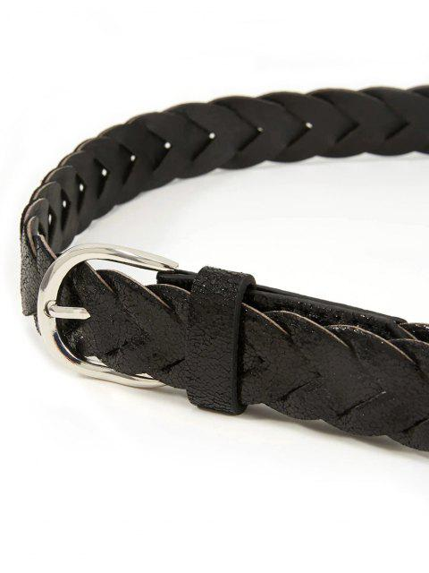 lady Crack Pattern Pin Buckle Braid Belt - BLACK  Mobile
