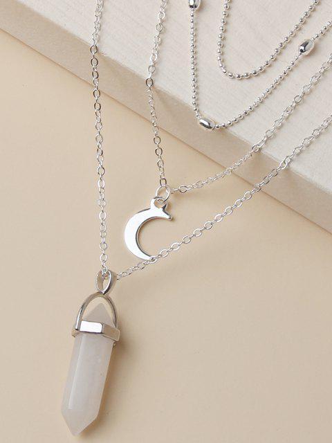 Collier Pendant Superposé en Forme de Lune - Argent  Mobile