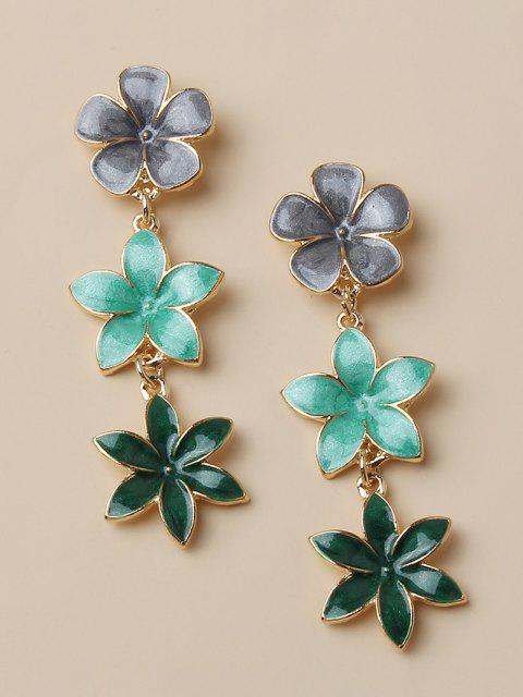 outfit Tricolor Flower Shape Drop Earrings - GOLDEN  Mobile