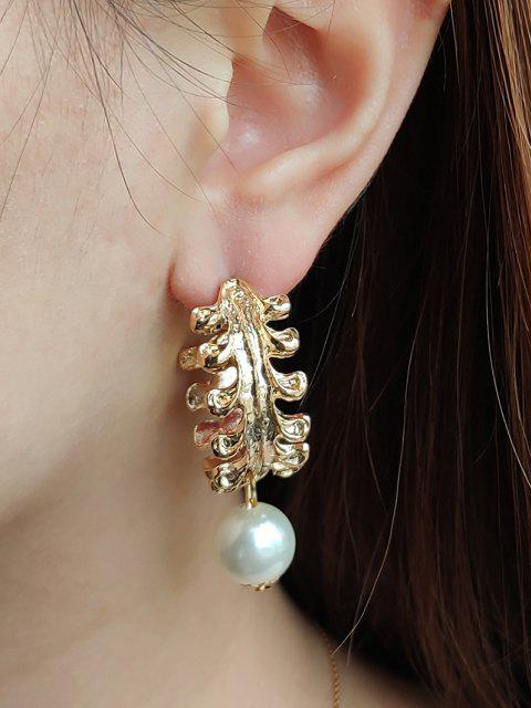 Faux Pearl Leaf Shape Hoop Earrings - ذهبي  Mobile