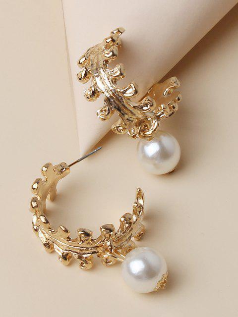 Orecchini a Forma di Foglia con Perle Finte - Oro  Mobile