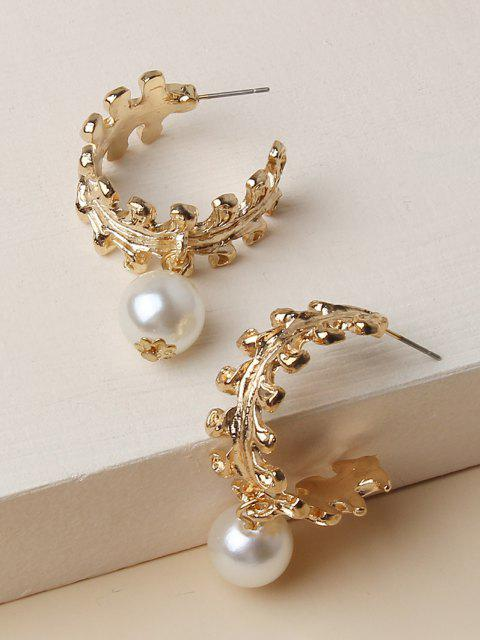 shop Faux Pearl Leaf Shape Hoop Earrings - GOLDEN  Mobile