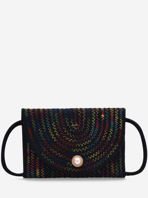 best Woven Design Envelope Shape Crossbody Bag - BLACK  Mobile