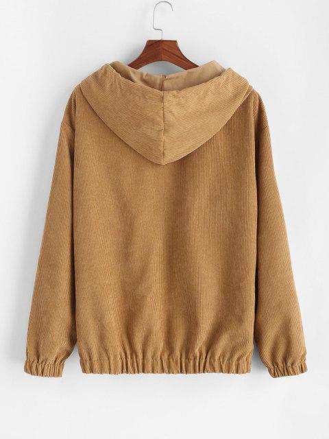 hot Hooded Double Pockets Corduroy Jacket - COFFEE S Mobile