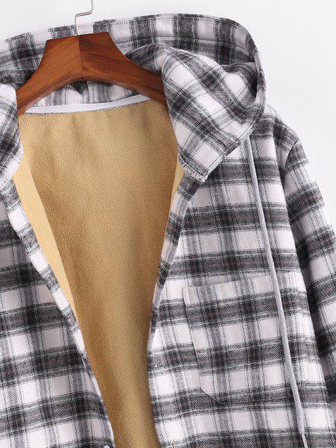 Veste à Capuche Boutonnée à Carreaux Imprimé en Laine avec Poche - Noir 2XL Mobile