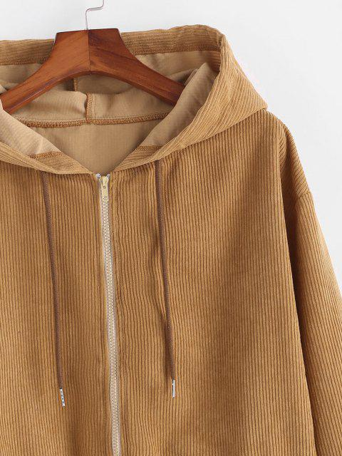 lady Hooded Double Pockets Corduroy Jacket - COFFEE L Mobile