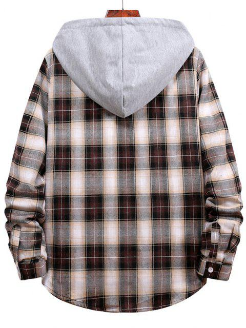 outfit Plaid Pattern Colorblock Panel Hooded Shirt - WOOD S Mobile
