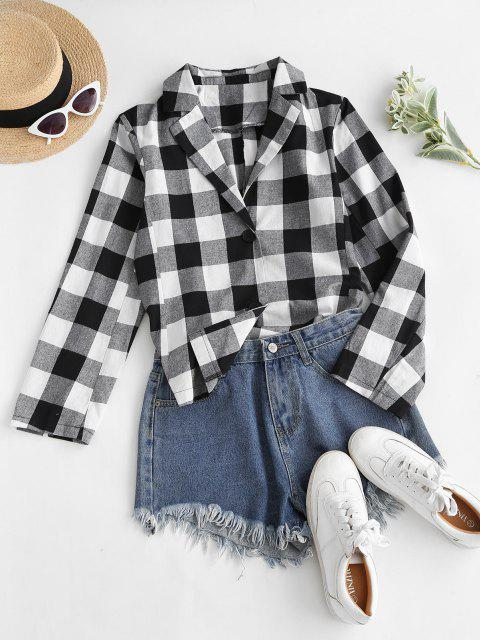 ladies Button Up High Low Slit Plaid Shirt - BLACK M Mobile
