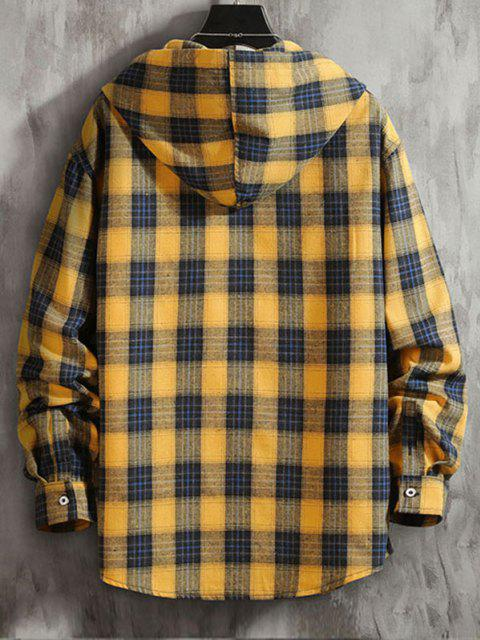 women Plaid Pattern Pocket Patch Hooded Shirt Jacket - GOLDEN BROWN 2XL Mobile