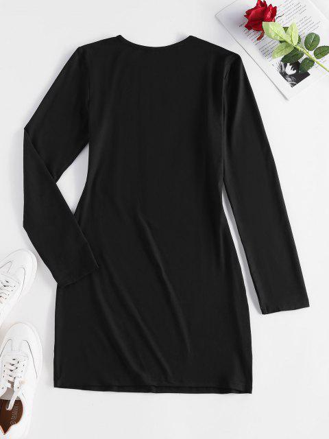 ZAFUL Vestido de Camiseta de Manga Larga de Carácter Chino - Negro XL Mobile