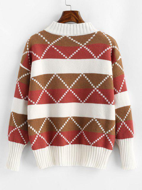 ladies Mock Neck Colorblock Geo Graphic Sweater - LIGHT PINK ONE SIZE Mobile