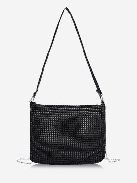 shop Rhinestone Design Chain Evening Bag - BLACK  Mobile