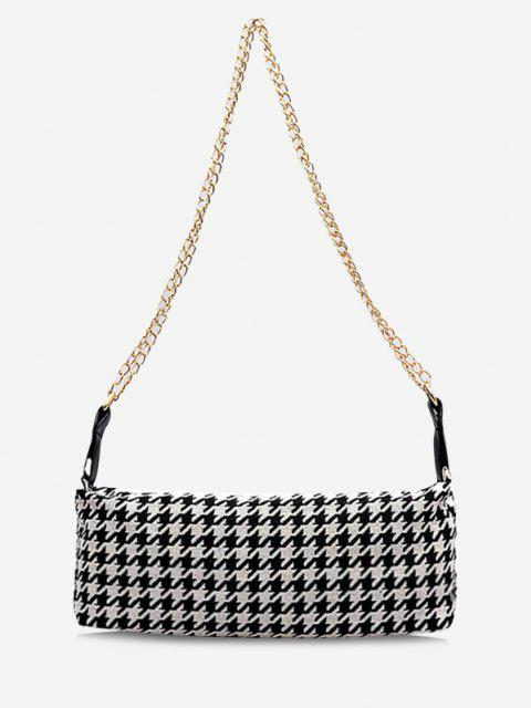 fancy Houndstooth Print Chain Strap Shoulder Bag - BLACK  Mobile