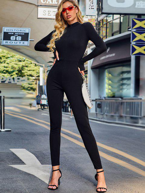 online Solid Zip Front Catsuit Jumpsuit - BLACK L Mobile
