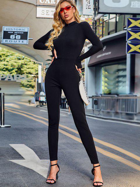 online Solid Zip Front Catsuit Jumpsuit - BLACK M Mobile