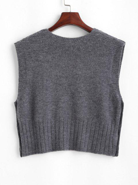 sale V Neck Side Button Up Sweater Vest - GRAY ONE SIZE Mobile