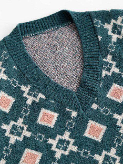 Camisola suéter gola V com manga Geométrica - Azul Um Tamanho Mobile