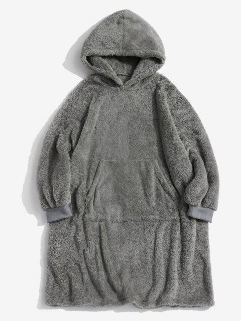 shop Front Pocket Drop Shoulder Fluffy Blanket Hoodie - GRAY XS Mobile