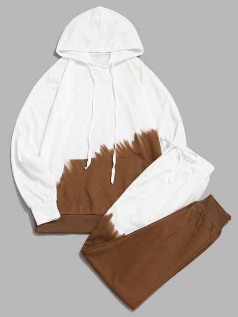 womens Ombre Hoodie And Pants Two Piece Set - KHAKI XS Mobile