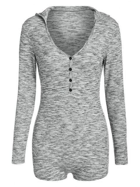 womens ZAFUL Half Button Space Dye Hooded Unitard - LIGHT GRAY M Mobile