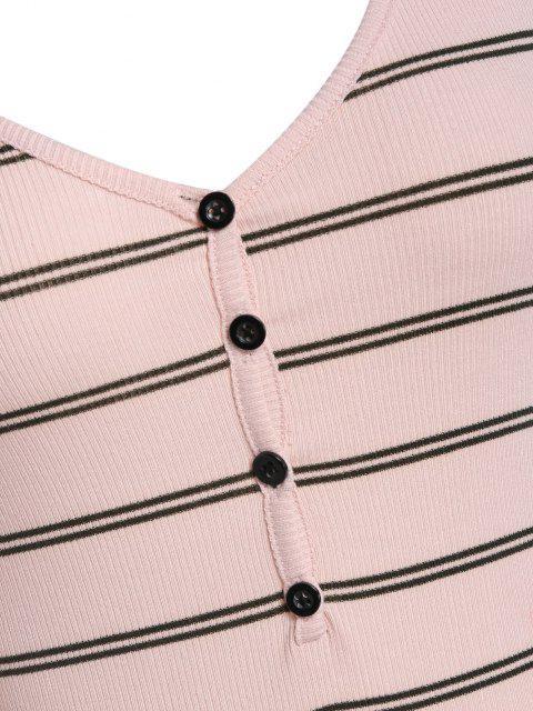 womens ZAFUL V Neck Striped Henley Unitard - LIGHT PINK M Mobile