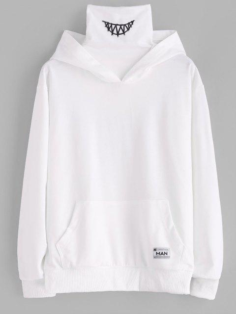Känguru Tasche Buchstaben Applique Doppelte Kragen Hoodie - Weiß S Mobile