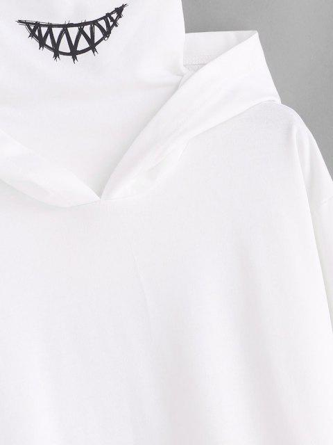 online Kangaroo Pocket Letter Applique Double Collar Hoodie - WHITE L Mobile