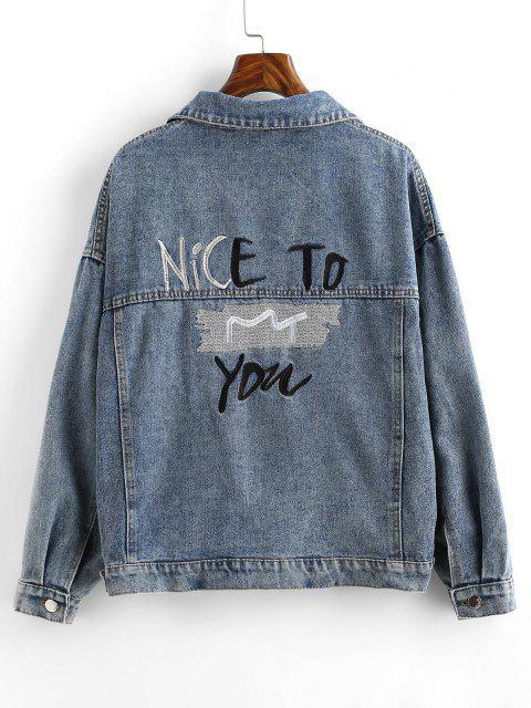 women's Embroidered Back Distressed Denim Jacket - LIGHT BLUE M Mobile